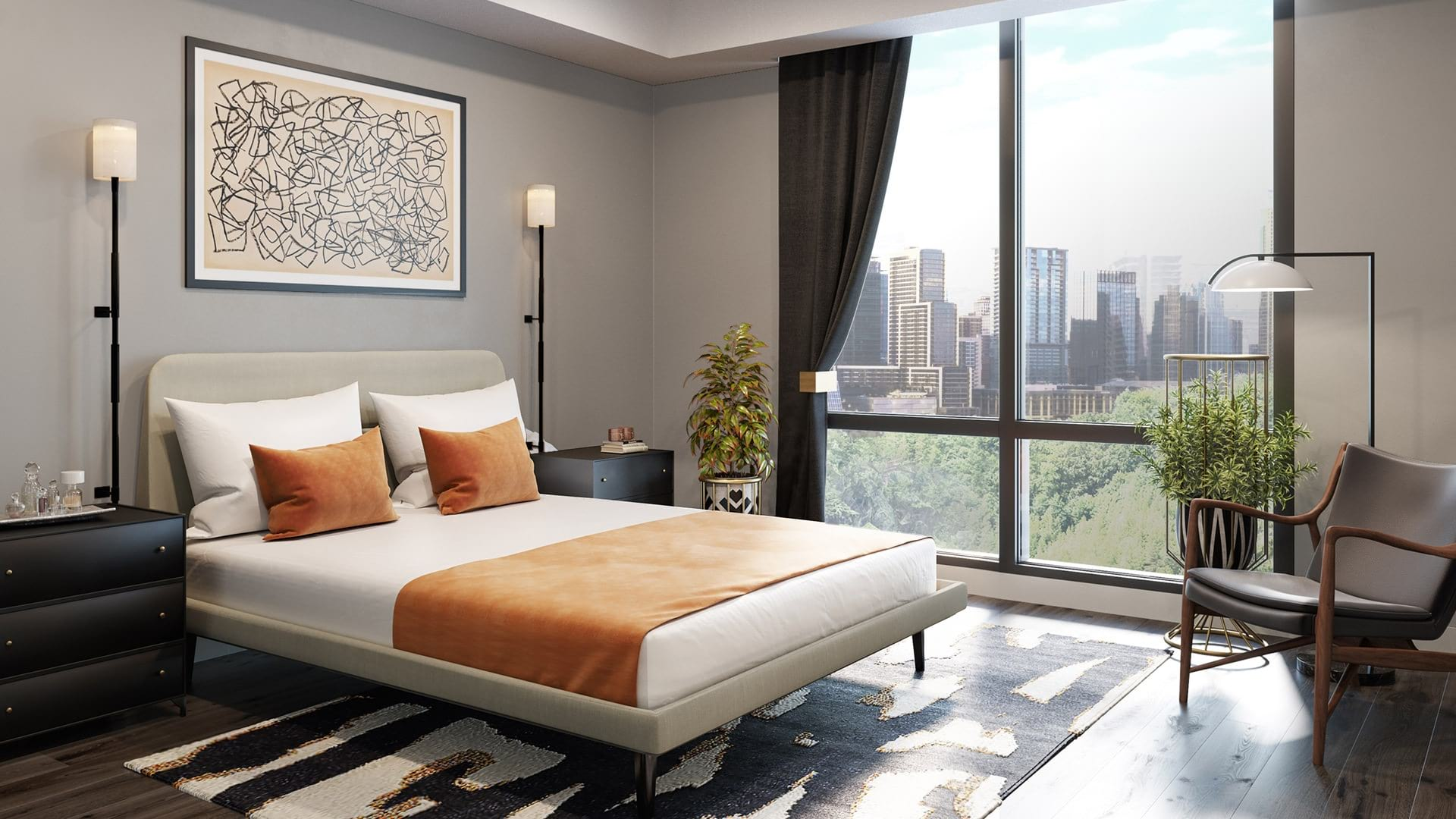 Bedroom with a view of Austin's Skyline