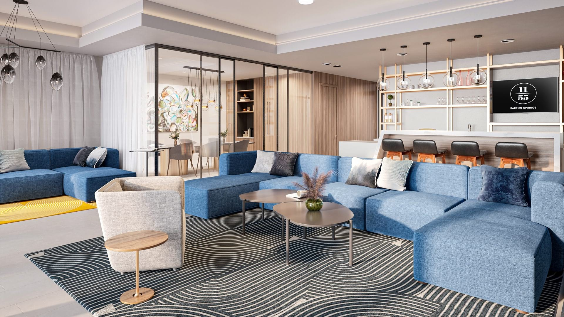 Co-working and Event Lounge with Modern Lighting