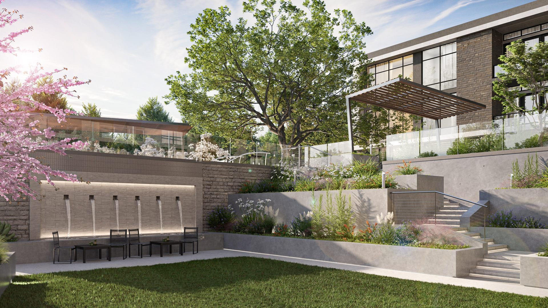 Activated Outdoor Spaces with Fountain and Lush Landscaping