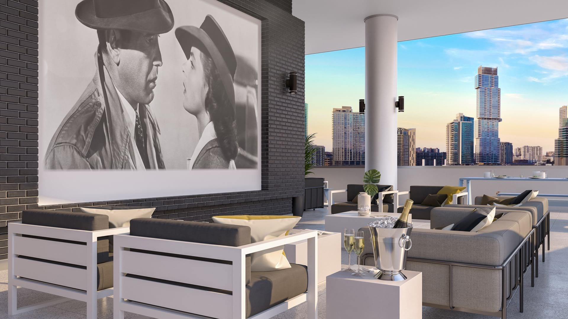 Rooftop Skyline Lounge with Media Center