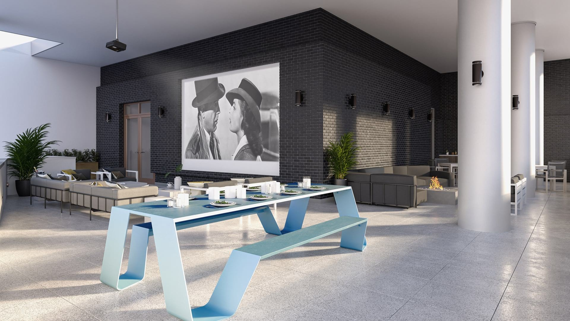 Rooftop Skyline Lounge with Dining Area Options